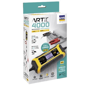 The ARTIC 4000 (4 A) is specifically designed to charge 6 and 12 V batteries such as cars, motorbikes, jet-skis or vintage cars.