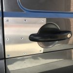 The Handle Shield is a stainless steel shield plate that prevents thieves from attacking the vulnerable area around the door handles. It is secured behind the manufacturer's door lock & handle but clearly visible to any thief.