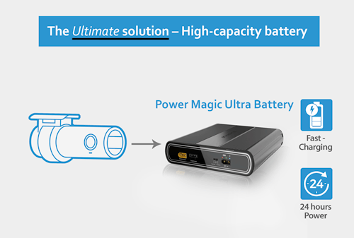 Introducing the BlackVue Power Magic Ultra Battery B124X, capable of powering a BlackVue dash cam in Parking Mode for extended periods of time without the need to ever draw power from the vehicle's battery.